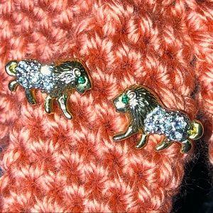 Jewelry - Lion Earrings Big Cat Earrings Crystal Stones